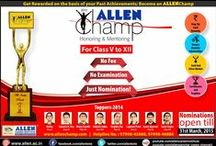 ALLEN Champ / ALLEN Champ is a unique program for honoring and mentoring the champions for boosting their confidence to perform better in future academic career which is first and foremost announced by ALLEN Career Institute in its silver Jubilee year.  ALLEN Champ is a gift to the society by ALLEN where not only the Champions, but their Parents, Schools, Principals and Mentors will also be honored and rewarded.