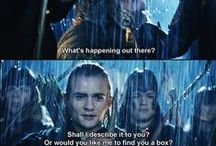 """Lord of the Rings & The Hobbit / This board is dedicated to LOTR & TH <3 <3 <3 Legolas is a beautiful being and just so fantabulous. He's such a good actor, and lets face it, no one can be cooler than """"Legolas-riding-down-the-stairs-on-a-shield-shooting-at-orks"""" cool. Legolas (Orlando Bloom) does nearly all his stunts himself! I respect that xox AND don't forget Legolas' perfect hair! Thranduil , Kili and Fili are pretty perfect too . . ."""