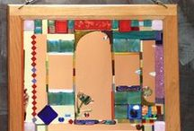 Mosaic mirror / This was made from fused glass pieces, rose pink glass mirror, and glass mirror tiles.