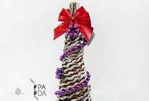 Vianočné dekorácie/ Christmas Decorations / Pletenie z papiera - Vianočné dekorácie