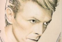 Bowie / Portraits of David Bowie.  Drawings in pastel and charcoal on fabric.