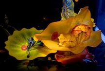 Glass Art / Glass ~ Art_Light Installations by Dale Chihuly, Coloured and stained glass windows, Antique Crystal Bronze Chandeliers, Lalique and other Perfume Bottles .......