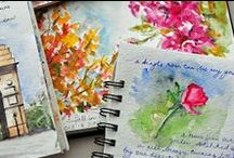 Inspirations: Journals/Mixed Media / Using all types of Mixed Media: Stamped, inked, painted, paper, multiple products and techniques / by Karen Petitt