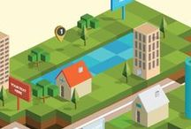 Isometric / Illustrated 3D diagrams and designs on isometric grids