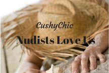Nudists Love the Soft Sensuous Feel of CushyChic Outdoor Cushion Slipcovers. / Cosy up on the Softest Outdoor Cushion Surfaces Ever with CushyChic Cushion Slipcovers, Pillow Slips, and Deliciously Warm Throws.   All coordinated to make your outdoor space worthy of your beautiful bod, naked or not!