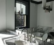 Bathroom Renovation 7 - London / High end bathrooms with marble walls and brushed nickel fittings throughout.