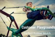 Customer Playgrounds & Landscapes / Quick snapshot of the creative and beautiful ways our customers use our rubber mulch. Yay!