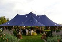 Tent: Blue Inspiration / The vintage blue has been very popular lately in weddings and the navy blue is classic and will always be in style. This board contains some great examples of how people have used blue in tented events