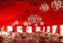 Tent: Red Inspiration / Red is a bold color. It should be allowed to be bold, but balanced with the other items in the tent. Lighting becomes very important when using this color.