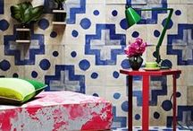 Interesting spaces with random tiles / encaustic cement tiles