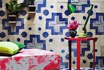 Interesting spaces with random tiles / encaustic cement tiles
