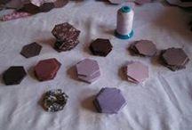 Raspberry hexagon quilt / Work in progress - hexagon quilt