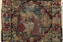 "Small scale tapestry,ca.1600, Flemish(MMA 41.100.57e) / ""Abraham Entertaining the Angels"" from Scenes from the Lives of Abraham and Isaac Date: ca. 1600 Culture: Flemish Medium: Wool, silk, silver-gilt thread (21 warps per inch, 9 per cm.) Dimensions: H. 19 3/4 x W. 20 inches (50.2 x 50.8 cm) Classification: Textiles-Tapestries Credit Line: Gift of George Blumenthal, 1941 Accession Number: 41.100.57e"