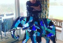 Glaskunst / Glaskunst, fused glass, glassart, koldt glas, full fuse, tack fuse, slumping, elefant, elephant