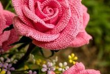 horgolt virágok, szivek, körök