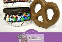 Pretzalicious / All City Candy's exclusive line of hand-dipped chocolate-covered pretzels and other confections. Perfect for Knot-So-Ordinary gift giving, parties, candy buffets or to enjoy all for yourself. www.allcitycandy.com