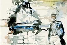 """Hugo Pratt: acquarelli / Hugo Pratt (1927-1995) e' considerato uno dei più grandi disegnatori del mondo. Le sue strisce, le opere grafiche e i suoi acquarelli vengono esposti nei più importanti Musei, dal Grand Palais alla Pinacothéque di Parigi, il Vittoriano di Roma, Ca' Pesaro a Venezia, Santa Maria della Scala a Siena. Per definire le sue storie è stato appositamente coniato il termine di """"letteratura disegnata"""". Viene citato da autori e artisti come Tim Burton, Frank Miller, Woody Allen, Umberto Eco, Paolo Conte."""