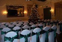 Christmas Wedding  / Stunning festive Green Satin sash on White lycra covers.