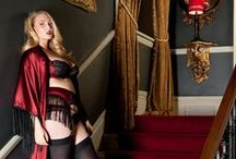 Harlow & Fox AW14 Collection / The inspiration behind our decadent Augusta Scarlet, Augusta Jet and Isabelle collections, all crafted from striking laser cut embroidery, rich silks and beautiful detailing, and made in Britain, exclusively for full bust sizes 30-38 DD-G.