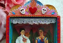 My Frida Kahlo Shrines/meine Frida Kahlo Schrein by filzgood / I started crafting shrines a few years ago and found that Frida Kahlo is the perfect center for it.