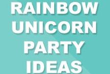Rainbow Unicorn Birthday Party Ideas / Inspiration from Zahvia's 5th rainbow unicorn birthday party. Printables and party by FMDFunkyMonkeyDesigns.