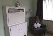 Félicia-Dae babyroom / Babyroom grey rose mint white Babykamer grijs roze mint wit
