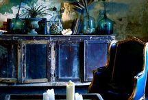 Midnight Style / Interior design and fashion using dark, inky shades of blues. Sarah x