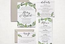 Wedding invitations / cute photos, drawings, cards, stamps and envelopes