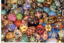 Pysanka / Growing up, my Parents and I would go with my Father's side of the family to celebrate Ukrainian Easter.  They lived in a small town and attended a small but ornate Ukrainian Orthodox church.  The entire experience would be fascinating to me including the baskets of food to take to be blessed, each involving symbolic meaning, the singing in Ukrainian which I did not understand but loved the sound, the heavy incense, and the trading of hand-made Pysanka between townspeople after the service.