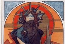 Art Nouveau Comics / Comic covers or characters in classique Art Noveau (Jugendstil) style a la Mucha