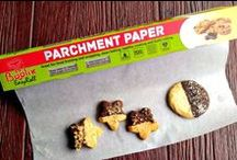 Parchment Paper / The EasyRoll comes in a thick carton box that provides maximum stability. What is more, its special design provides the best protection and makes opening and using it incomparably easy.  The box features a sharp knife cutter that will help you cut parchment paper pieces accurately and effortlessly. A single piece can fit all of your pans.  Extra silicone layers -Never Sticks! This top notch parchment paper is FDA approved and it is made of premium quality, 100% safe material.