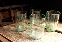 Glass Sets / Repurposed drink ware by Bottles & Wood http://www.bottlesandwood.com/glass-sets/