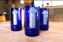 Juice & Shot Glasses / Repurposed drink ware by http://www.bottlesandwood.com/