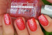 Nails - Combination of Nail Polishes / Glitter, Prismatic, Matt ... Top Coat