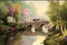 Bridges Art / All fantastic art on this board is created by famous artist Thomas Kinkade. Colorful and vivid, these bridges feel like a shiny road home.