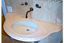 Bathroom countertops done by Creative Stone / Custom stone countertop for vanities, tub surrounds, showers, etc.