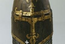 Medieval great helms and crests