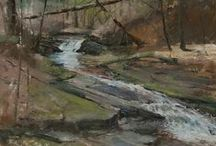 Rivers, Brooks & Streams in Plein Air Paintings / Watery places