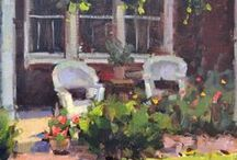 Benches, Chairs & Couches in Plein Air Paintings / Places to sit outsiide