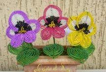 Fiori di perline e fiori filo moulinè / Le mie piantine realizzate con perline di vetro o con filo moulinè