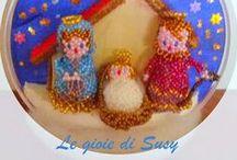 Christmas Ornaments - beads / Decorazioni natalizie con perline, centrini e altri oggetti attinenti il Natale