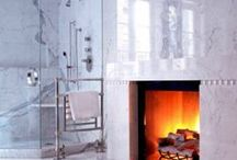Fireplace in the  bathroom..
