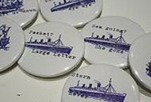 portfolio printmaking badges / Jo Larsen Burnett hand pulled letterpress and type badges