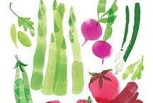 Ilustraciones de verduras y frutas