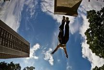 Parkour & Freerunning / Parkour is a kind of movement were practitioners aim to get from A to B in the most efficient way possible. Freerunning is the art of expressing oneself in his or her environment without limitation of movement. - Wikipedia