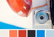 blauw-wit-oranje interieur / Blauw: denim, indigo Wit: helder wit Oranje: eigenlijk meer verwassen rood. Absoluut geen licht oranje!