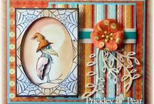 Fall/Halloween/Thanksgiving / Design Team samples featuring fall themed Clear Stamps and Die sets.