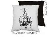 """Black & White Chandelier Pillows by artist Michelle Vella / Do you decorate in Black & White - my Chandellier Series could be the perfect addition. My PILLOW COVERS are $75 18x18"""" and $95 22x22"""" SHIPPING INCLUDED.  SHOP and ORDER at michellevella.com Fall in love with my super soft velveteen 100% polyester, Durable and fade resistant print, Easy care: machine wash cold delicate cycle & lay flat to dry. All cushion covers and pillow covers are made in Canada-Sweatshop free"""