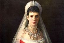 Everything Maria Feodorovna / Maria Feodorovna (1847-1928), whose full name was Marie Sophie Frederikke Dagmar was born Princess Dagmar of Schleswig-Holstein-Sonderburg-Glücksburg, later styled Princess Dagmar of Denmark, was Empress consort of Russia as spouse of Emperor Alexander III (1845-1894). They married in 1866 and had five children: Nicholas (who became Nicholas II), George, Xenia, Michael, and Olga.  Worried about his safety at Winter Palace, Alexander and his family relocated to Gatchina Palace. / by Barb Smith