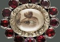 Jewelry: Lover's Eye ❤ Tokens / In the late 1700s, while his father George III was losing the Revolutionary War in America, George IV of England was losing his heart to a commoner. The young prince's lover gave him a locket with a miniature painting of her eye; her anonymity was preserved while eye contact was maintained. Such portraits appeared between the 1790s-1820s in the courts and affluent households of England, Russia, France and even, quite rarely, America. They were meant to be worn inside the lapel, near the heart.